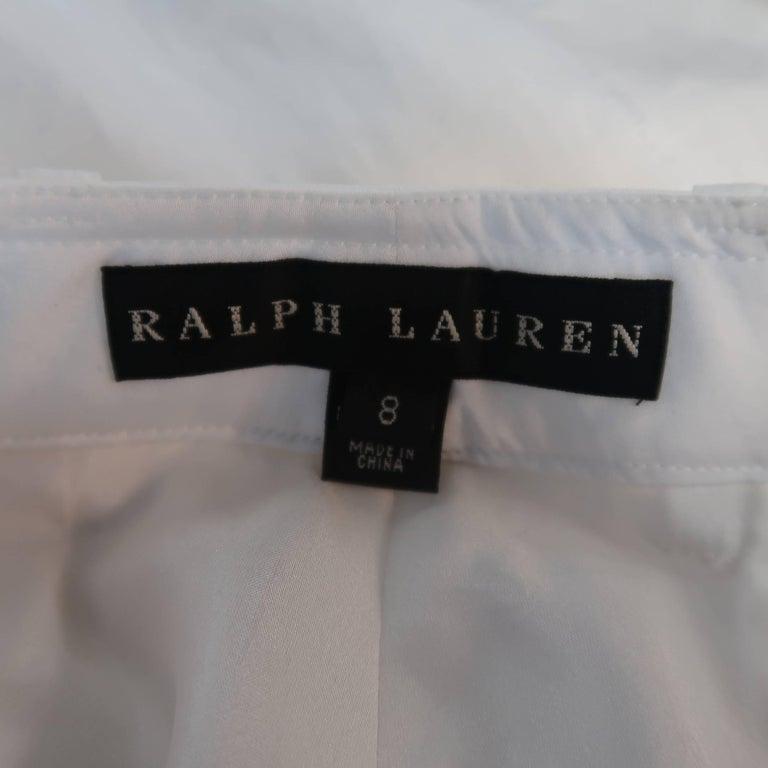 RALPH LAUREN Size 8 White Sheer Satin Cargo Moto Pants For Sale 8