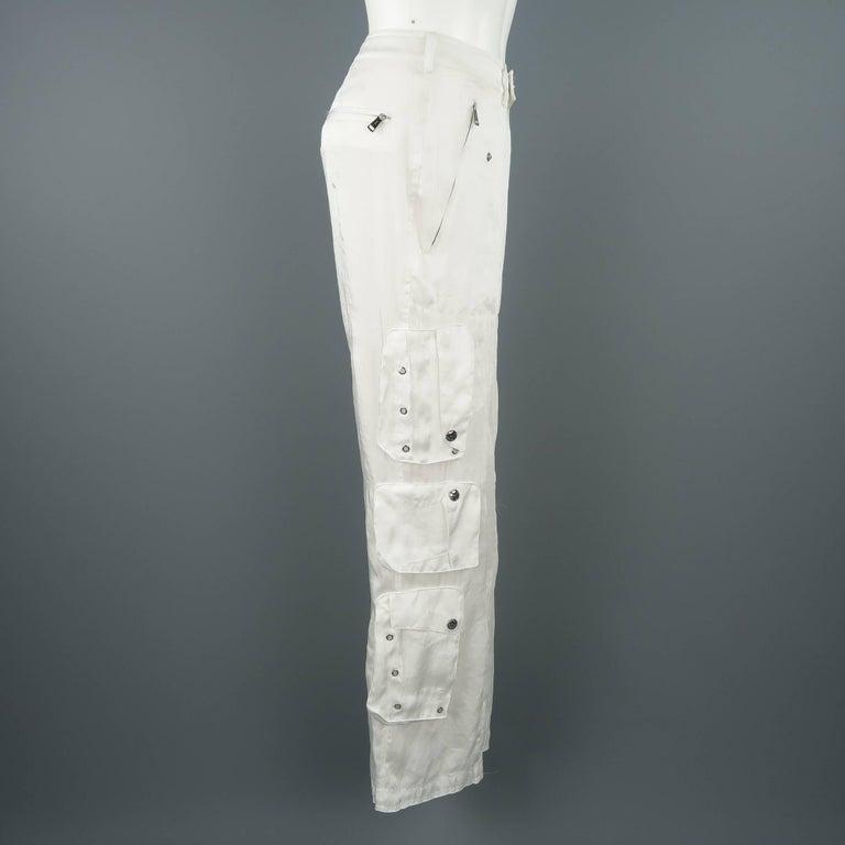 RALPH LAUREN Size 8 White Sheer Satin Cargo Moto Pants For Sale 2