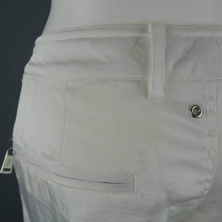 RALPH LAUREN Size 8 White Sheer Satin Cargo Moto Pants For Sale 7
