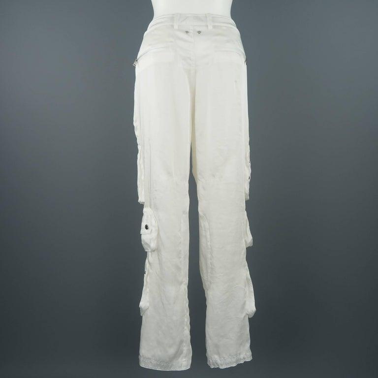 RALPH LAUREN Size 8 White Sheer Satin Cargo Moto Pants For Sale 5