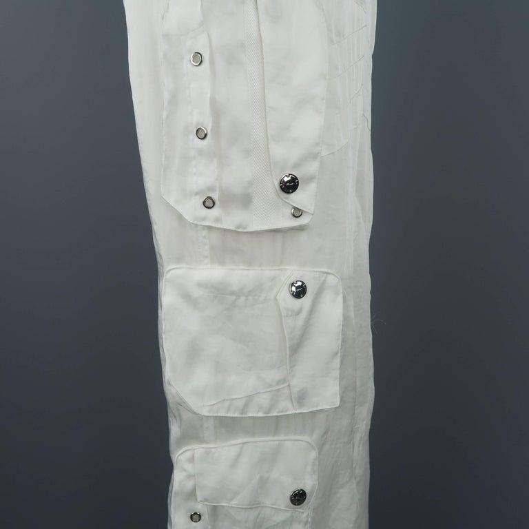 RALPH LAUREN Size 8 White Sheer Satin Cargo Moto Pants For Sale 4