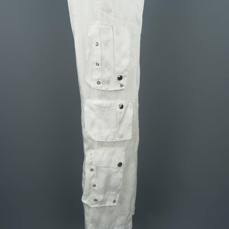 RALPH LAUREN Size 8 White Sheer Satin Cargo Moto Pants For Sale 3