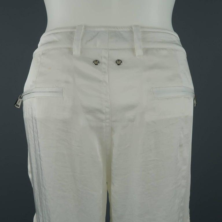 RALPH LAUREN Size 8 White Sheer Satin Cargo Moto Pants For Sale 6