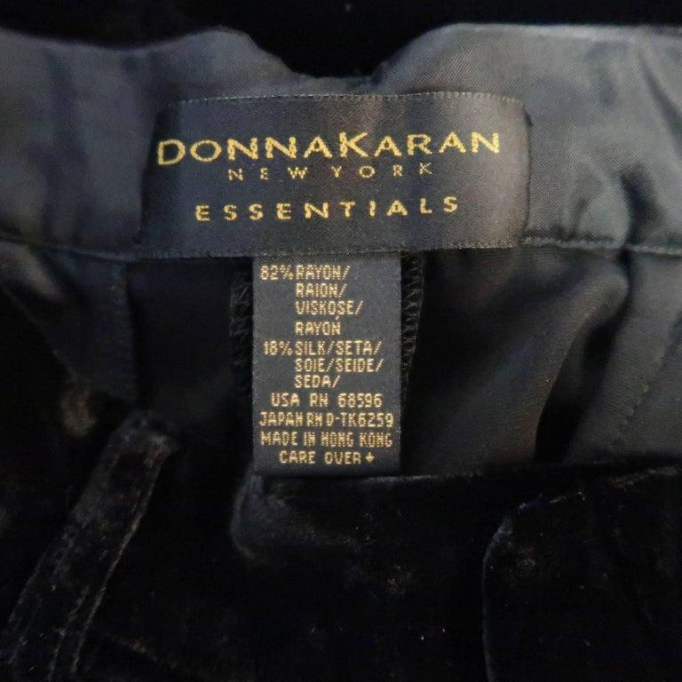DONNA KARAN Size 8 Black Velvet High Rise Pleated Dress Pants For Sale 5