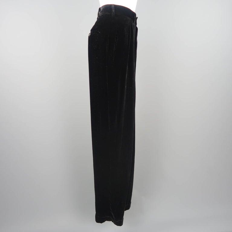 DONNA KARAN Size 8 Black Velvet High Rise Pleated Dress Pants For Sale 1