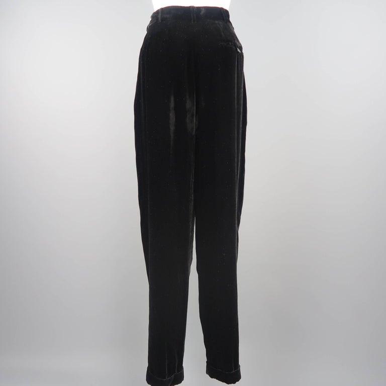 DONNA KARAN Size 8 Black Velvet High Rise Pleated Dress Pants For Sale 3