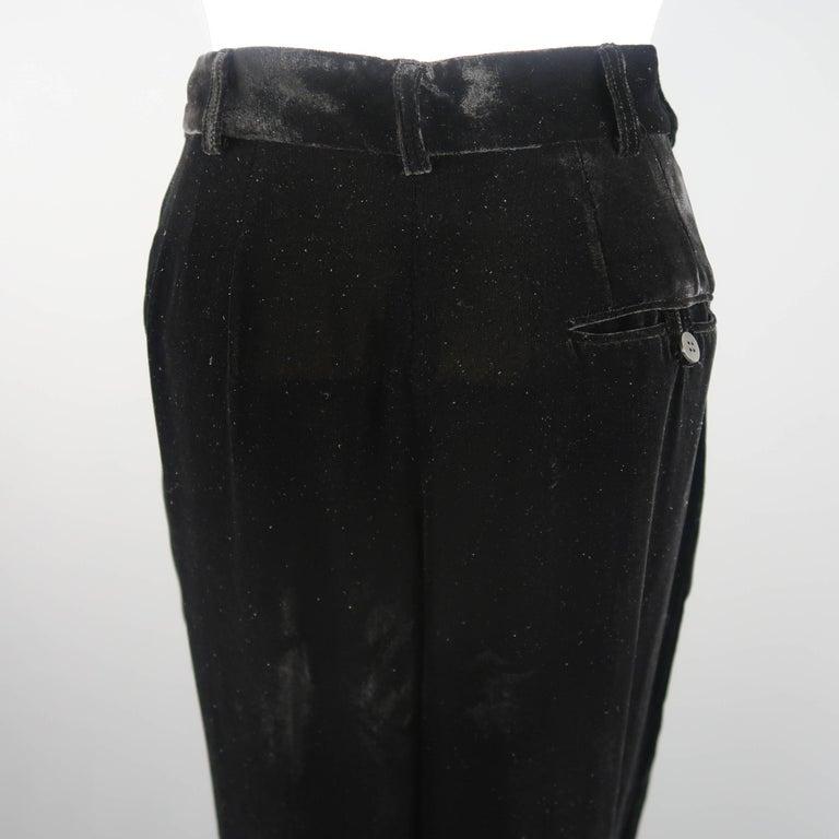 DONNA KARAN Size 8 Black Velvet High Rise Pleated Dress Pants For Sale 4