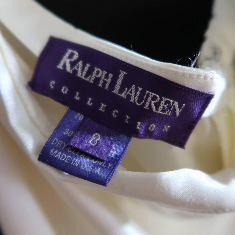 RALPH LAUREN Size 8 Beige Cream Rayon / Silk Satin Wide Leg Dress Pants For Sale 1