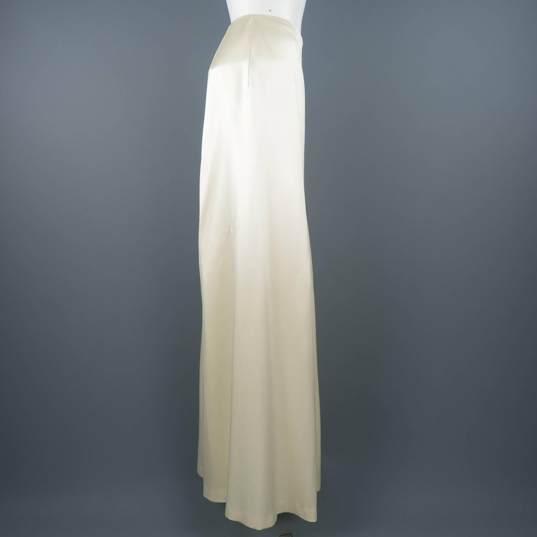 RALPH LAUREN Size 8 Beige Cream Rayon / Silk Satin Wide Leg Dress Pants In Good Condition For Sale In San Francisco, CA