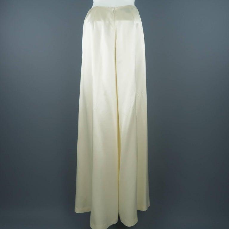 Women's RALPH LAUREN Size 8 Beige Cream Rayon / Silk Satin Wide Leg Dress Pants For Sale