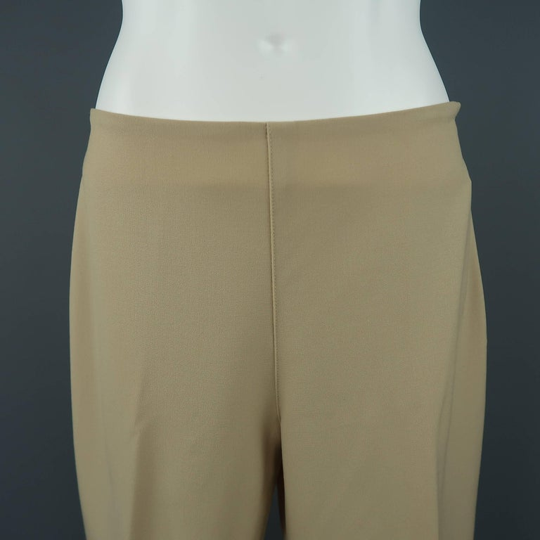 RALPH LAUREN BLACK LABEL dress pants come in a tan khaki stretch wool with a high rise and skinny fitted silhouette.   Good Pre-Owned Condition. Marked: 6   Measurements:   Waist: 29 in. Rise: 9.5 in. Inseam:  27 in.