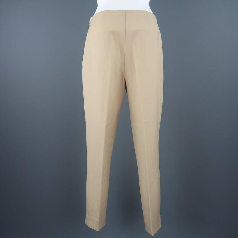 Beige RALPH LAUREN Size 6 Tan Stretch Wool Skinny Dress Pants For Sale