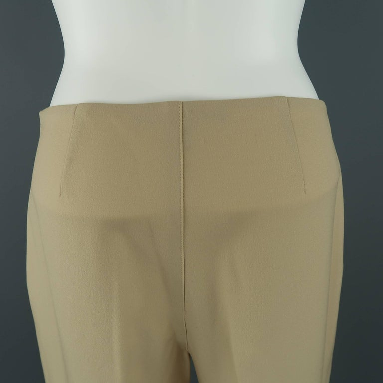 RALPH LAUREN Size 6 Tan Stretch Wool Skinny Dress Pants In Good Condition For Sale In San Francisco, CA