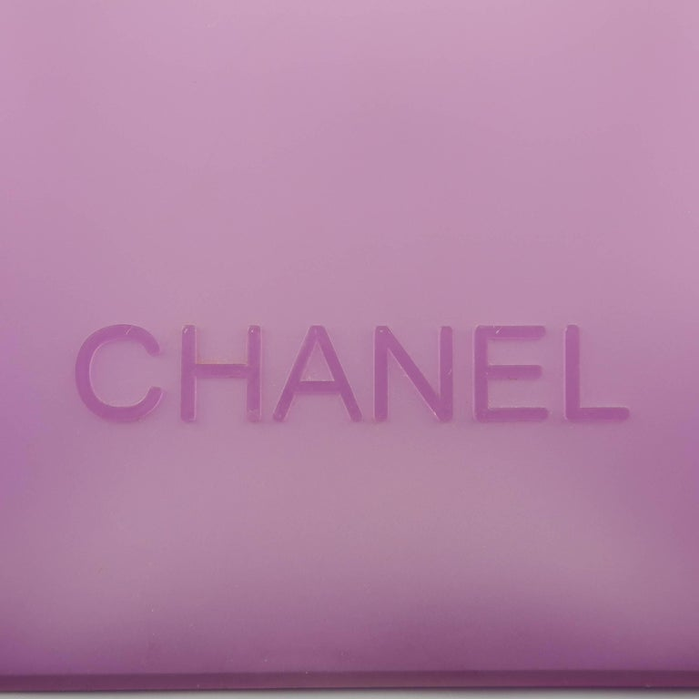 864b272a35a0 CHANEL Purple Clear Jelly Rubber Logo Tote Bag at 1stdibs