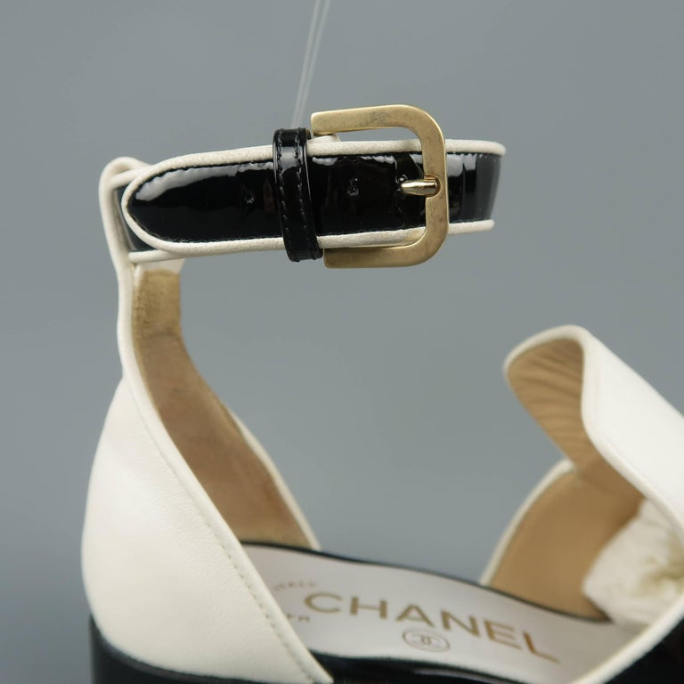 7fd13c2039c CHANEL Size 5.5 Black   White Leather Ankle Strap Loafer Flats For Sale. CHANEL  loafers come in cream smooth leather and feature a split toe with black ...