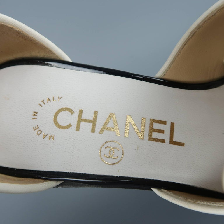 9b7c5309f3a CHANEL Size 5.5 Black   White Leather Ankle Strap Loafer Flats For Sale 4
