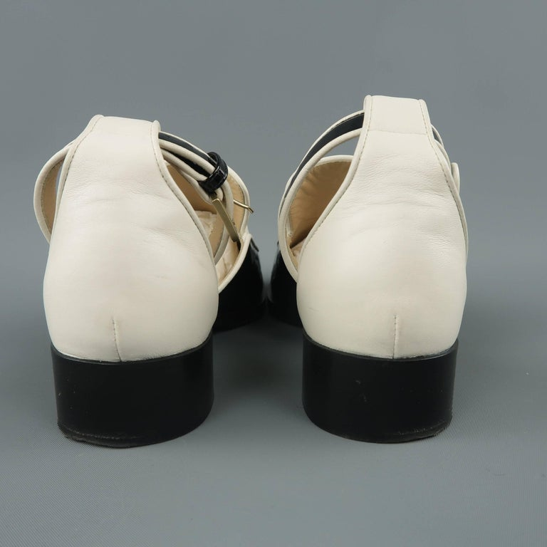 7090c1b7eee CHANEL Size 5.5 Black   White Leather Ankle Strap Loafer Flats For Sale 3