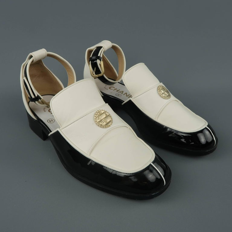 e70b53b6c2f CHANEL Size 5.5 Black   White Leather Ankle Strap Loafer Flats In Excellent  Condition For Sale
