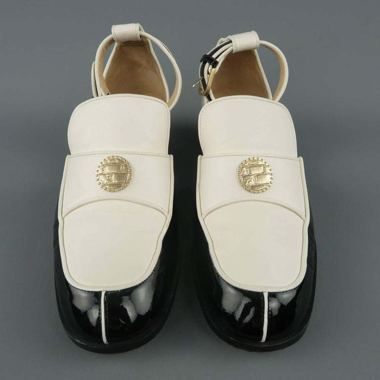 Chanel Size 5 5 Black And White Leather Ankle Strap Loafer