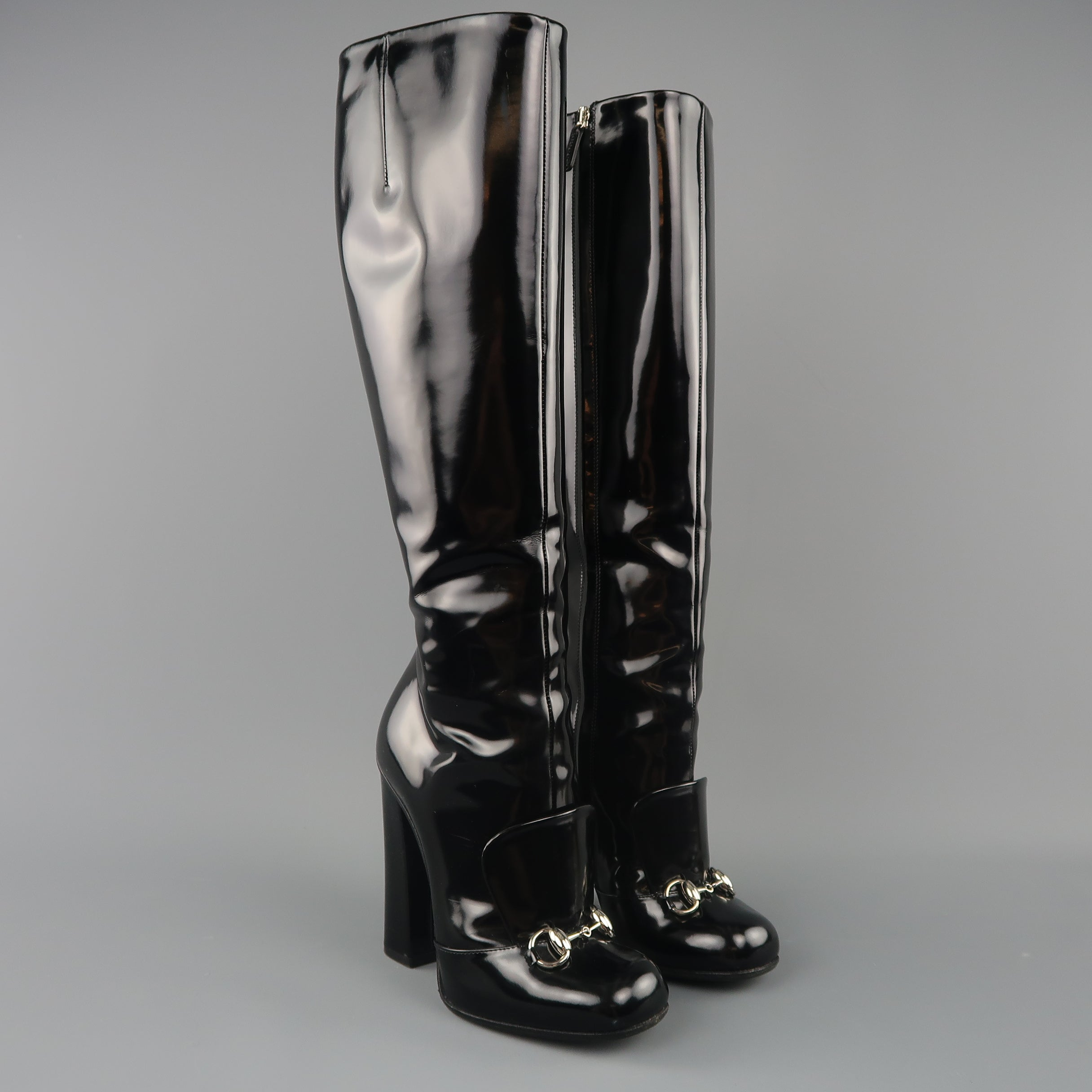 7ae1be2c10f GUCCI Size 6 Black Patent Leather Horsebit Knee High Lillian Boots For Sale  at 1stdibs