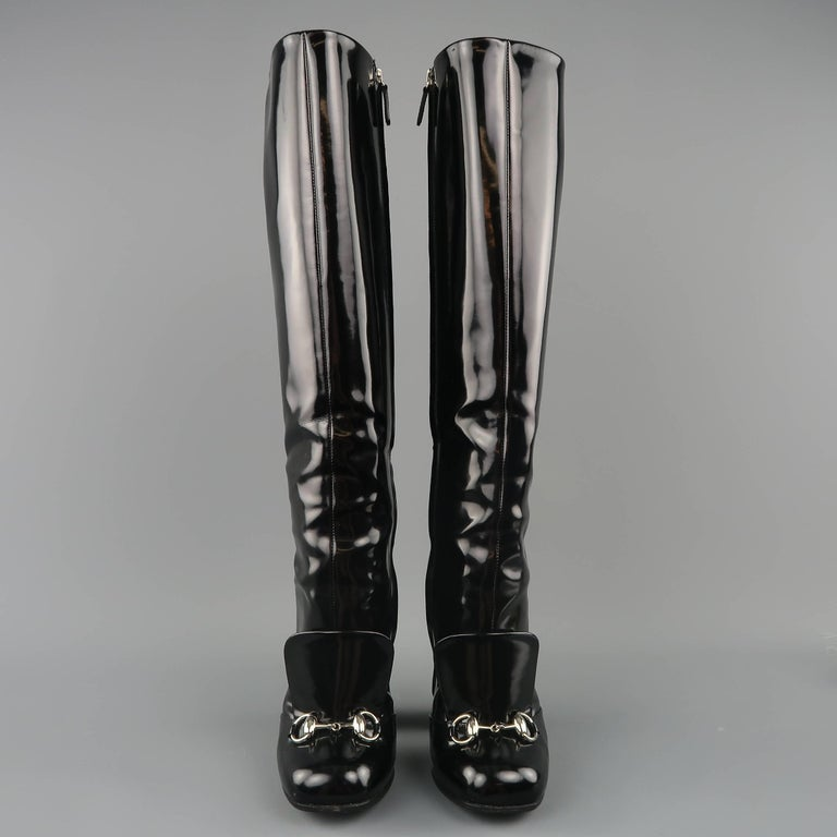 ad7e7cc59dd GUCCI Size 6 Black Patent Leather Horsebit Knee High Lillian Boots In Good  Condition For Sale