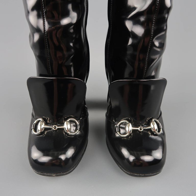 b905db06773 Women s GUCCI Size 6 Black Patent Leather Horsebit Knee High Lillian Boots  For Sale