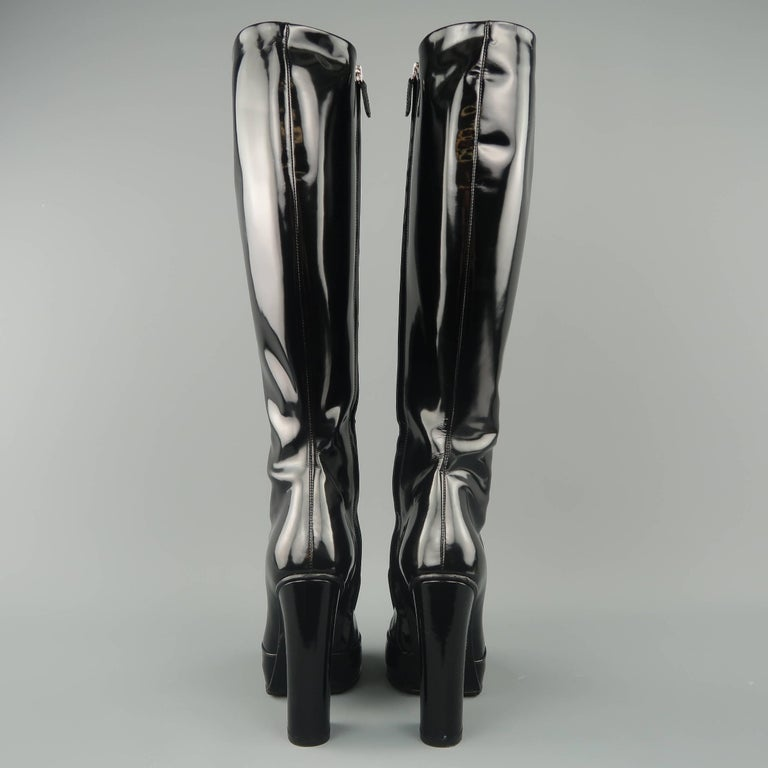 94c6808b33b GUCCI Size 6 Black Patent Leather Horsebit Knee High Lillian Boots For Sale  3