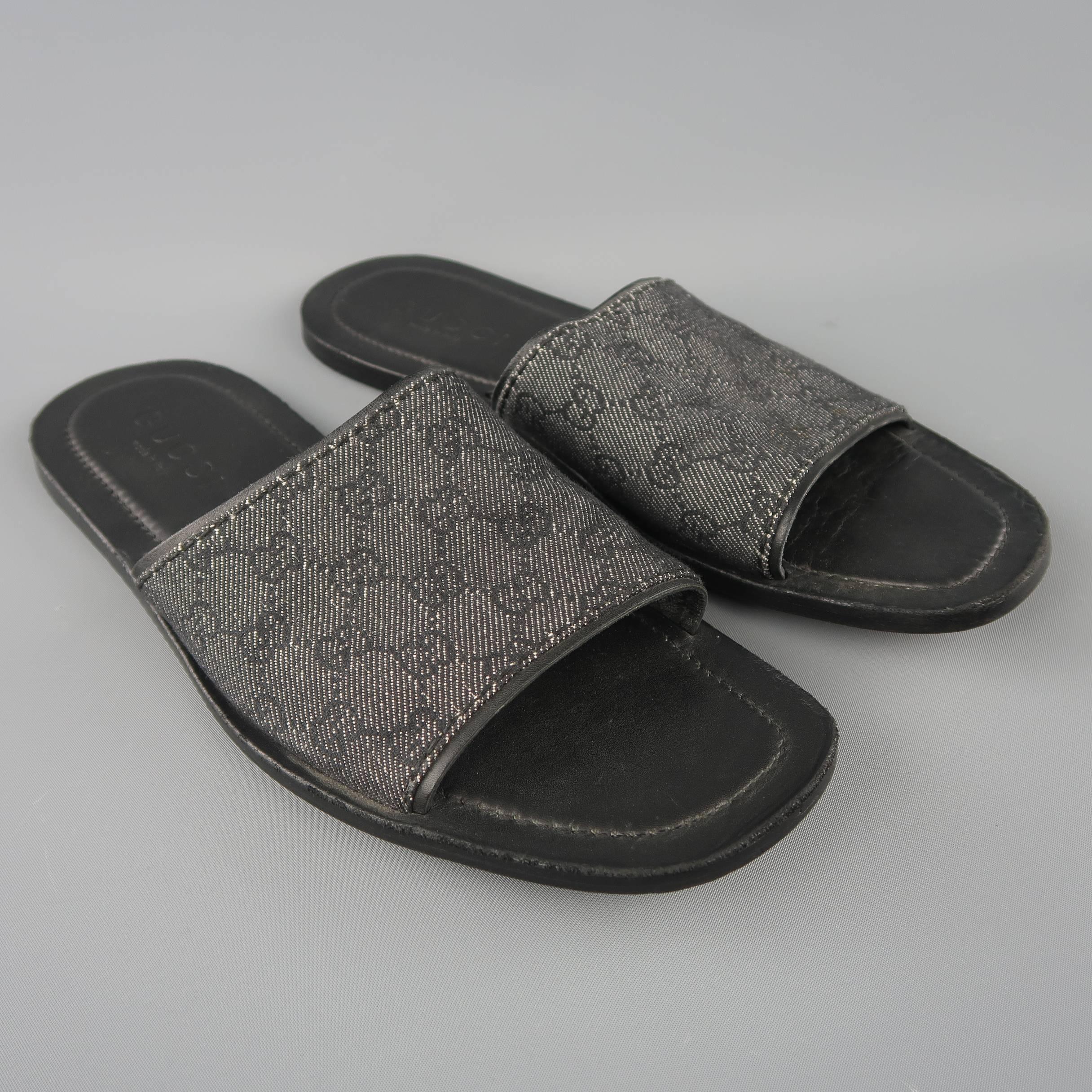 7b6cd3e35 Men s GUCCI Size 11.5 Black Guccissima Monogram Canvas Slide Sandals at  1stdibs