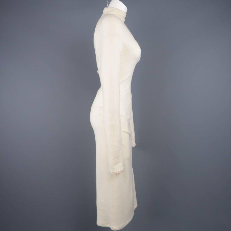 Women's DONNA KARAN Size M Cream Cashmere Turtleneck Sweater Dress For Sale