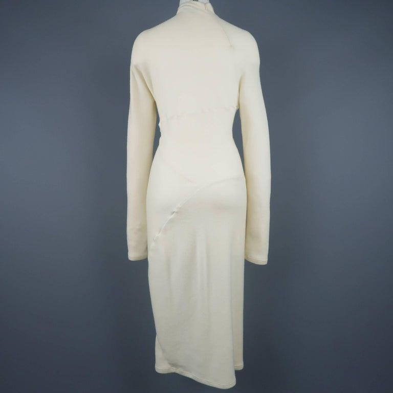 DONNA KARAN Size M Cream Cashmere Turtleneck Sweater Dress For Sale 2