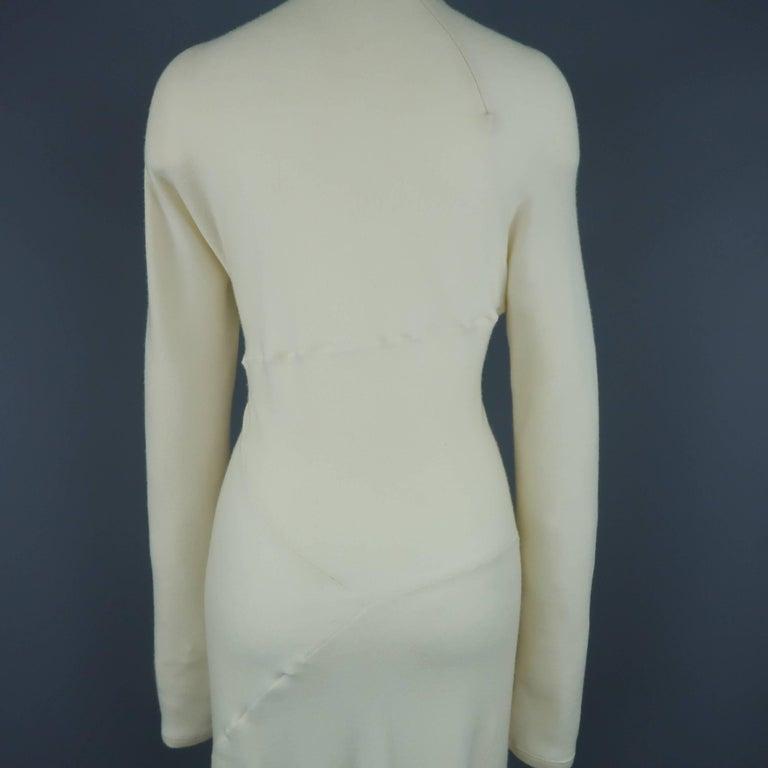 DONNA KARAN Size M Cream Cashmere Turtleneck Sweater Dress For Sale 3