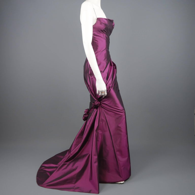 f6e23e5f829963 RICHARD TYLER Kleid - Abendkleid - Lila Seiden Taft Rosette im ...