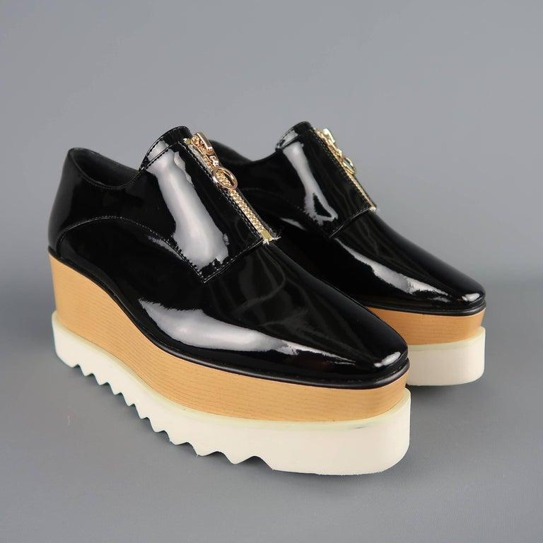ed511723cbcf Stella Mccartney Black Platform Faux Patent Leather Elyse Platform ...