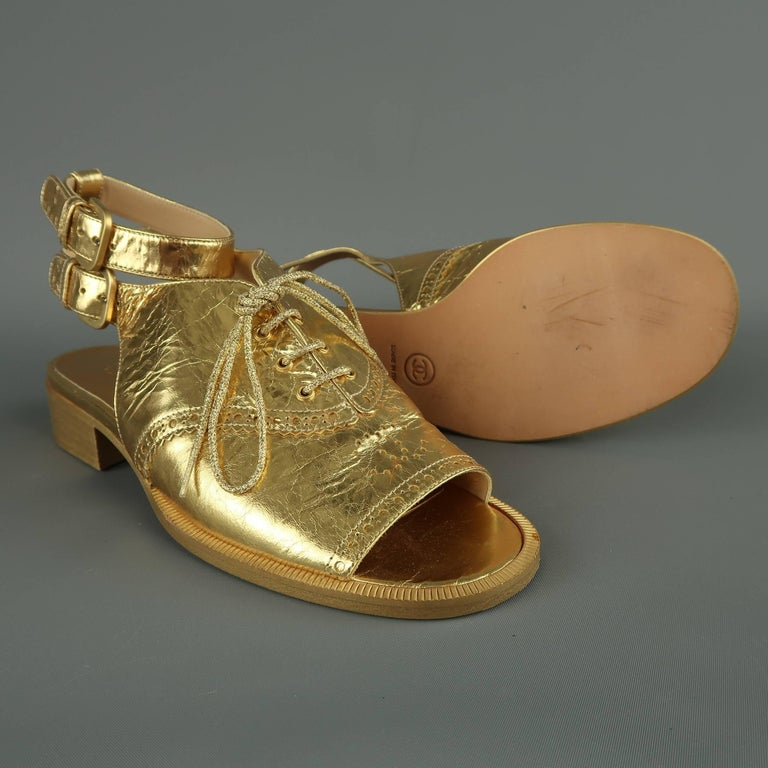 52c6ca19ac6 Chanel Size 7 Gold Metallic Leather Peep Toe Ankle Strap Oxford Sandals In  Good Condition For