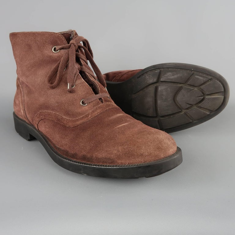 Bottega Veneta Men's Brown Suede Shearling Lined Ankle Boots In Fair Condition For Sale In San Francisco, CA