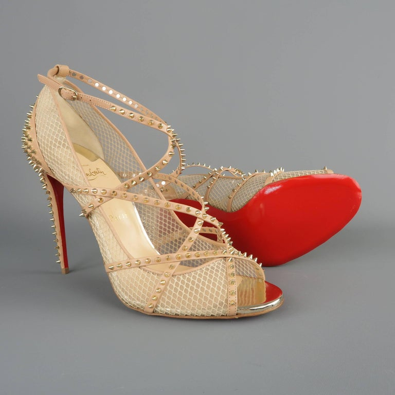 27b8910208e9 Women s CHRISTIAN LOUBOUTIN Size 12 Beige Spiked Leather   Mesh ALARC  Sandals For Sale
