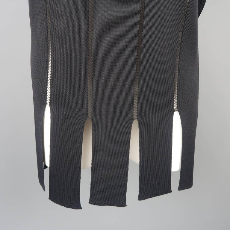 Claude Montana Black Burnout Stripe Scoop Neck Sweater Dress In Excellent Condition For Sale In San Francisco, CA