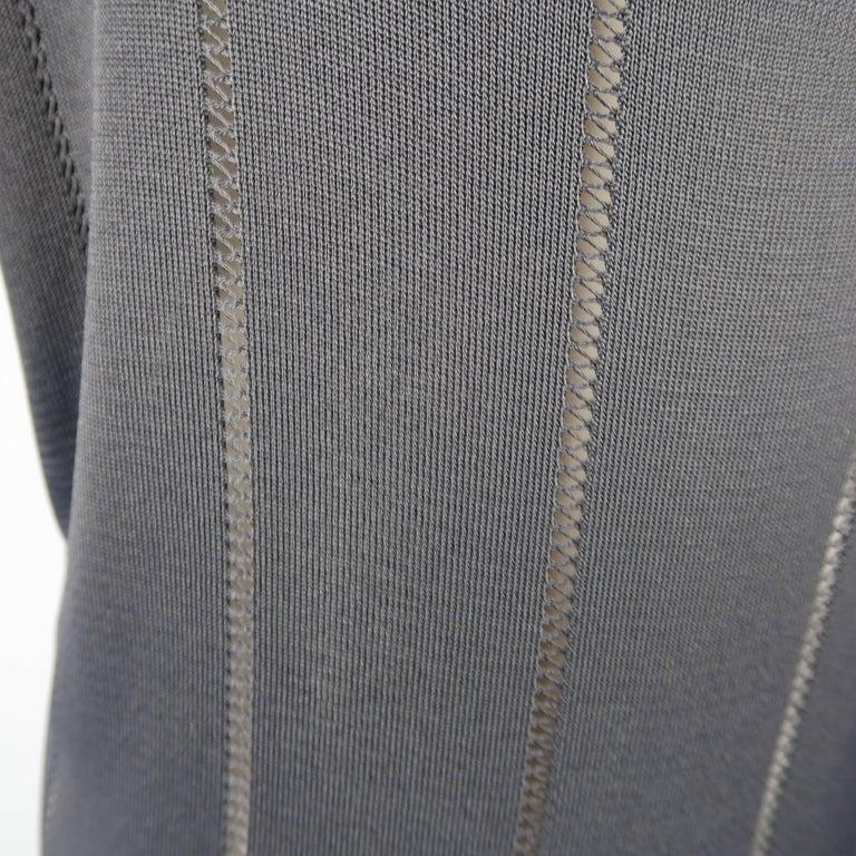 Women's Claude Montana Black Burnout Stripe Scoop Neck Sweater Dress For Sale