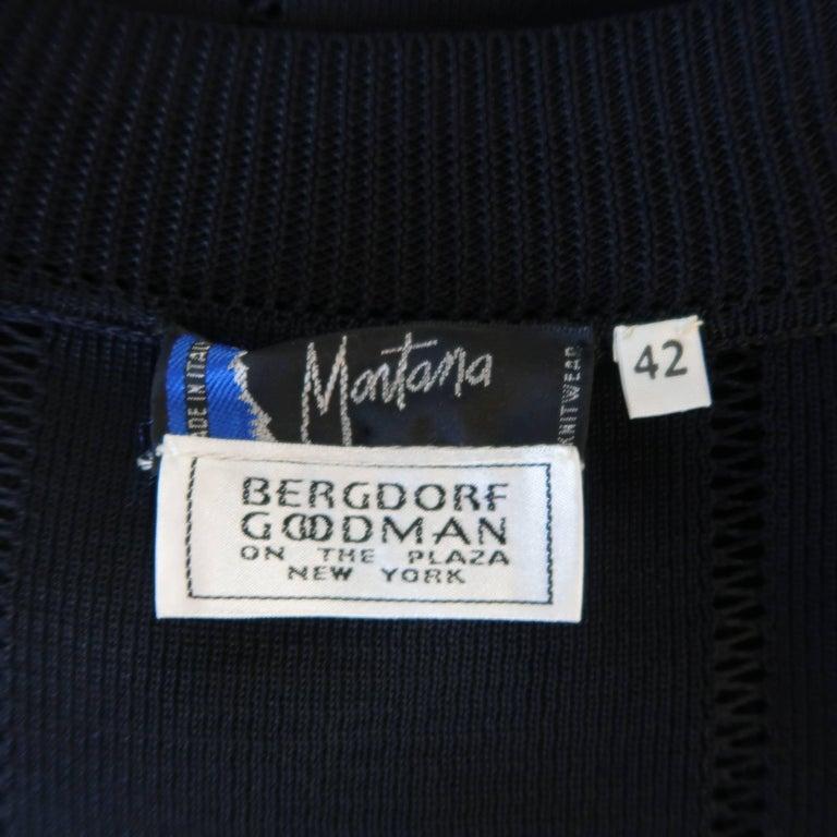 Claude Montana Black Burnout Stripe Scoop Neck Sweater Dress For Sale 4