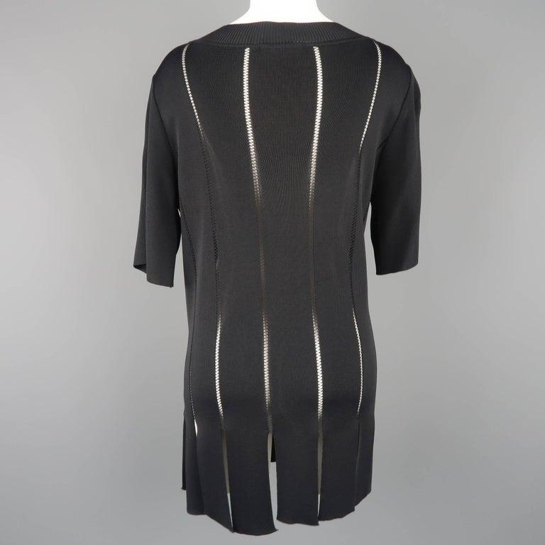 Claude Montana Black Burnout Stripe Scoop Neck Sweater Dress For Sale 2