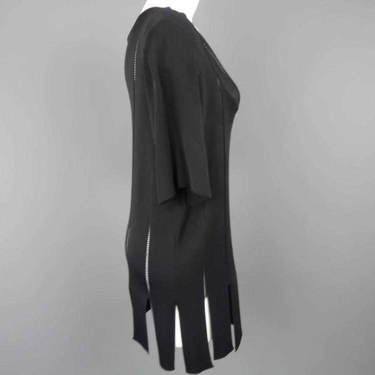 Claude Montana Black Burnout Stripe Scoop Neck Sweater Dress For Sale 1
