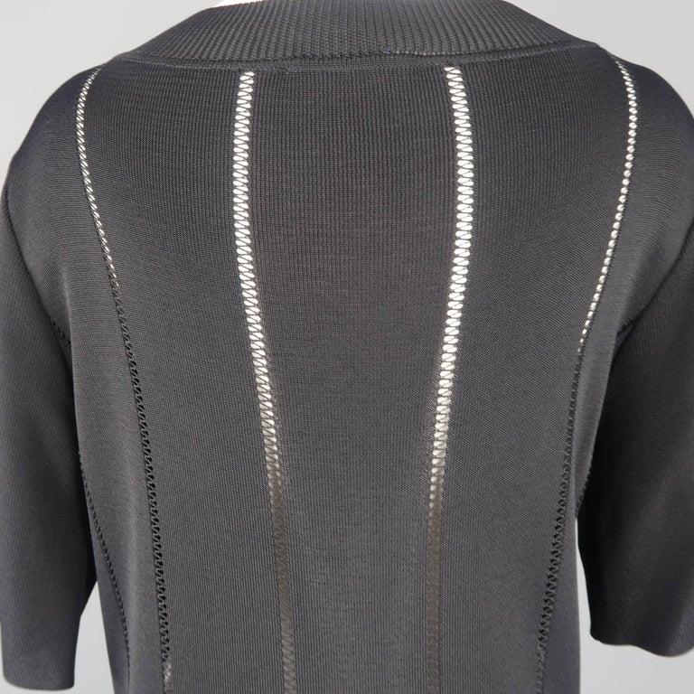Claude Montana Black Burnout Stripe Scoop Neck Sweater Dress For Sale 3