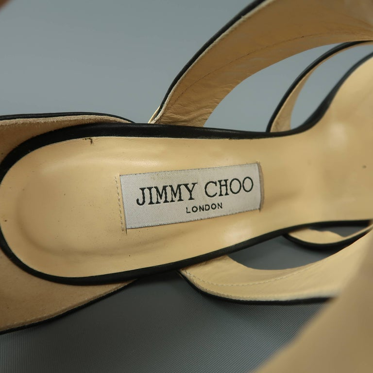 802a3ef904e1 JIMMY CHOO Size 9 Black and Gold Leather BESSO Sandals For Sale at ...