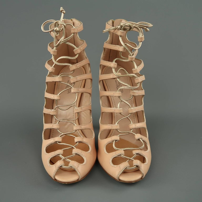 8742dfaa3326 GIAMBATTISTA VALLI Size 9 Pink Leather Lace Up Peep Toe Sandals In Good  Condition For Sale