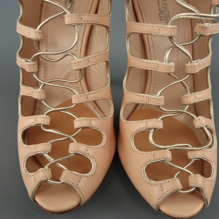 775753cadb52 Women s GIAMBATTISTA VALLI Size 9 Pink Leather Lace Up Peep Toe Sandals For  Sale