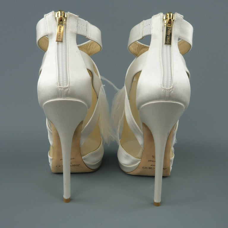 09d1778c290f JIMMY CHOO Size 8.5 White Silk   Leather Ostrich Feather Bridal Sandals  Heels For Sale 4