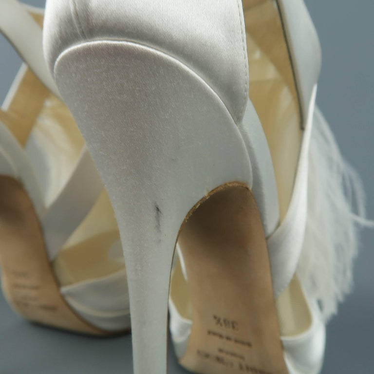 61760fe96d51 JIMMY CHOO Size 8.5 White Silk   Leather Ostrich Feather Bridal Sandals  Heels For Sale 5