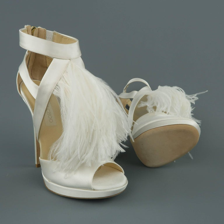 Jimmy Choo Size 8 5 White Silk Leather Ostrich Feather