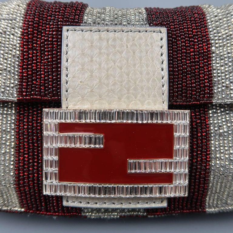 09fb0f7c59 Black Fendi Bag Burgundy   Silver Beaded Crystal Buckle Mini Baguette  Handbag For Sale