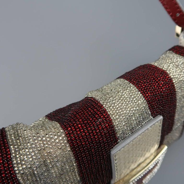 df45ed8dea Fendi Bag Burgundy   Silver Beaded Crystal Buckle Mini Baguette Handbag In  Good Condition For Sale
